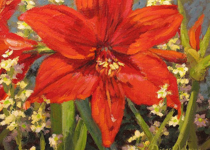Red Flower Blossom Greeting Card featuring the painting Lone Beauty by L Diane Johnson