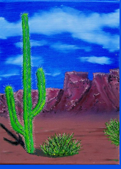 Desert Mountains Cactus West Greeting Card featuring the painting Lone Cactus by Lawrence Booth