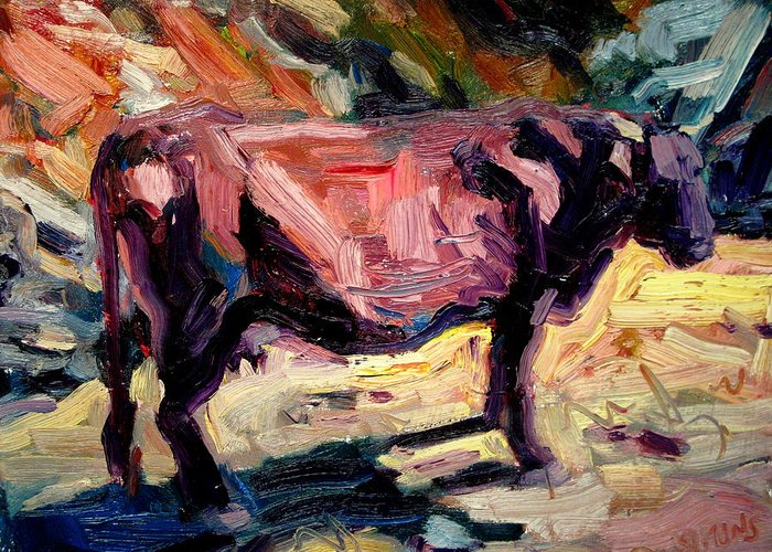Cow Paintings Greeting Card featuring the painting Lone Cow by Brian Simons