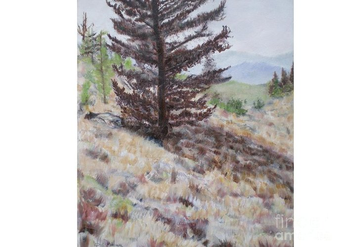 Bear Tree Greeting Card featuring the painting Lone Mountain Tree by Hal Newhouser