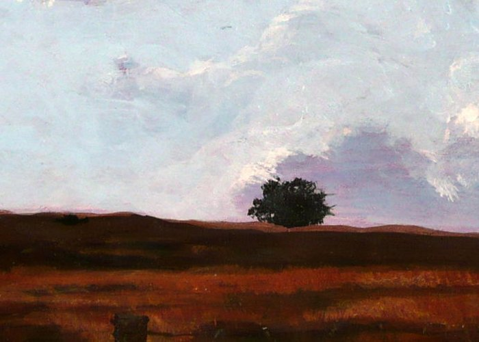 Landscape Greeting Card featuring the painting Lone Oak by Jill Iversen