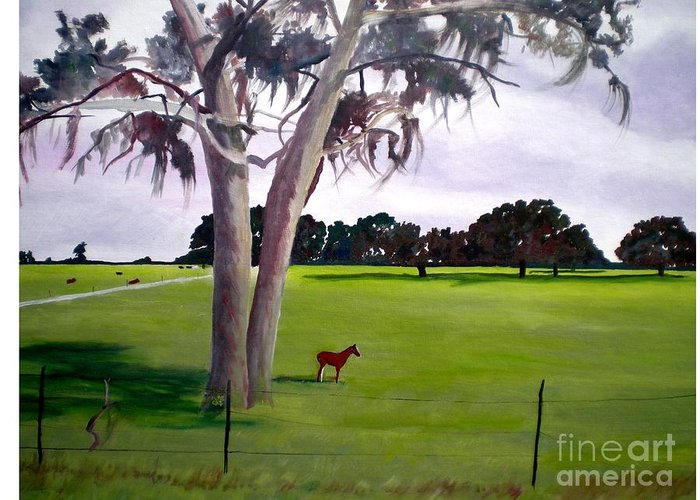Landscape Greeting Card featuring the sculpture Lone Pony by Hal Newhouser
