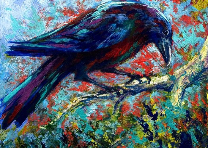 Crows Greeting Card featuring the painting Lone Raven by Marion Rose