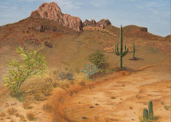 Desert Greeting Card featuring the painting Lone Saguaro In Desert by Philip Hall