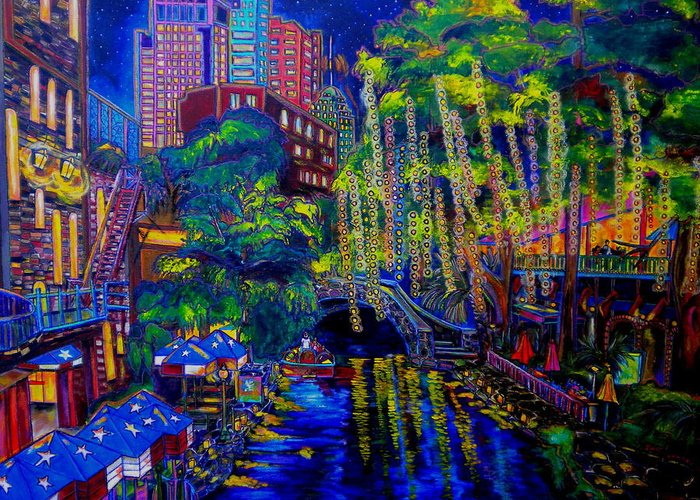 San Antonio Greeting Card featuring the painting Lone Star Evening by Patti Schermerhorn