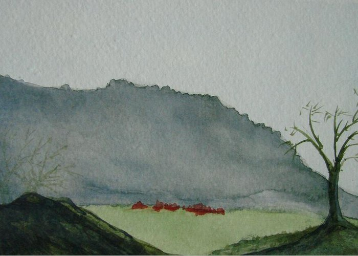 Landscape Greeting Card featuring the painting Lone Tree by Liz Vernand