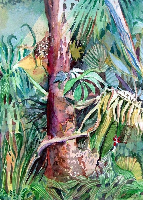 Jungle Greeting Card featuring the painting Lone Tree by Mindy Newman