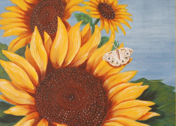Sunflower Greeting Card featuring the painting Lone Visitor by Nick Petkov