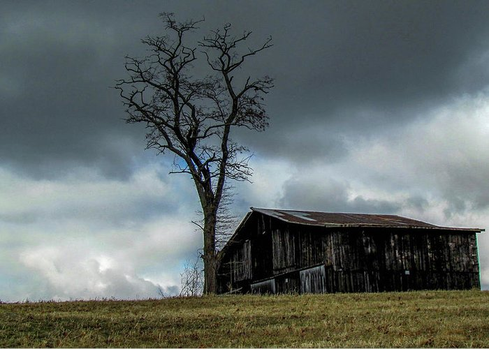 Barn Storm Lonely Landscape Country Greeting Card featuring the photograph Lonely Barn by Judy Baird