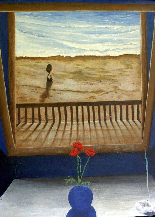 Figurative Greeting Card featuring the painting Lonely Beach by Georgette Backs