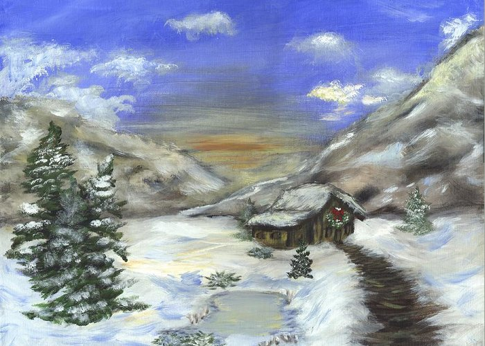 Winter Greeting Card featuring the painting Lonely Cabin by Jennifer Skalecke