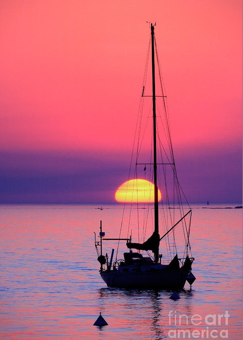 Yacht Greeting Card featuring the photograph Lonely Sunset by Bernardo Galmarini