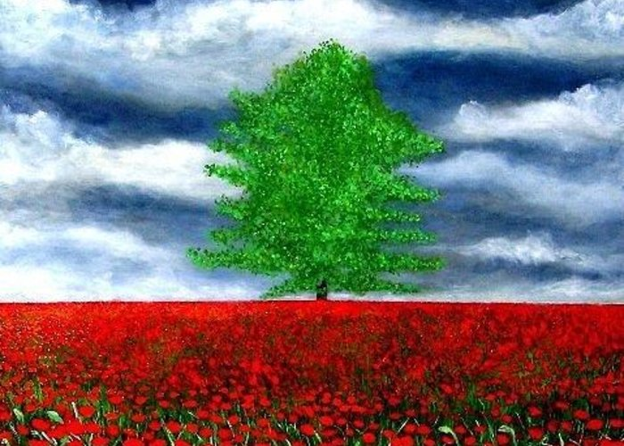 Sky Greeting Card featuring the painting Lonely Tree Amongst Zillions Of Poppies by Marie-Line Vasseur