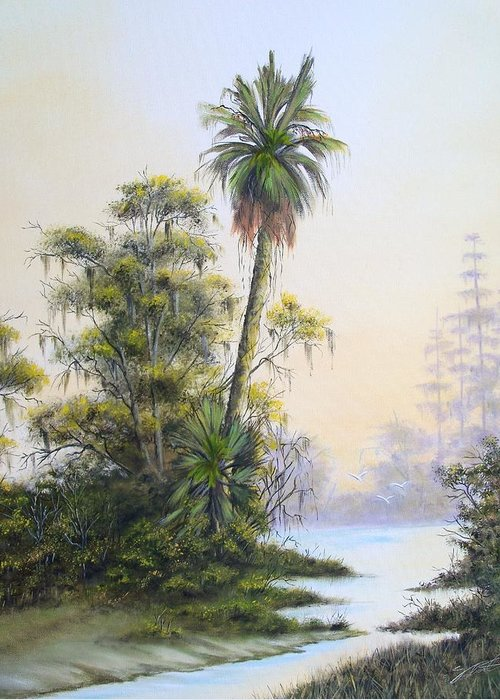 Landscape Greeting Card featuring the painting Lonesome Palm by Dennis Vebert