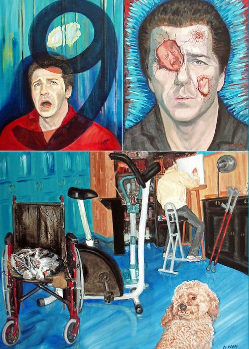 Portrait Greeting Card featuring the painting Long Disease by Aymeric NOA