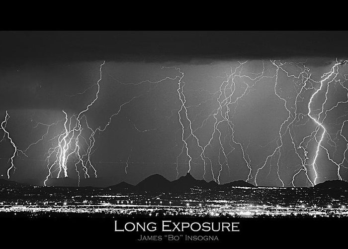 Lightning Greeting Card featuring the photograph Long Exposure - Bw Poster by James BO Insogna