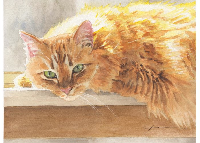 Www.miketheuer.com Orange Maine Coon Cat Watercolor Portrait Greeting Card featuring the painting Long-hair Cat by Mike Theuer