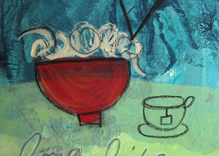 Abstract Greeting Card featuring the painting Long Life Noodles by Linda Woods