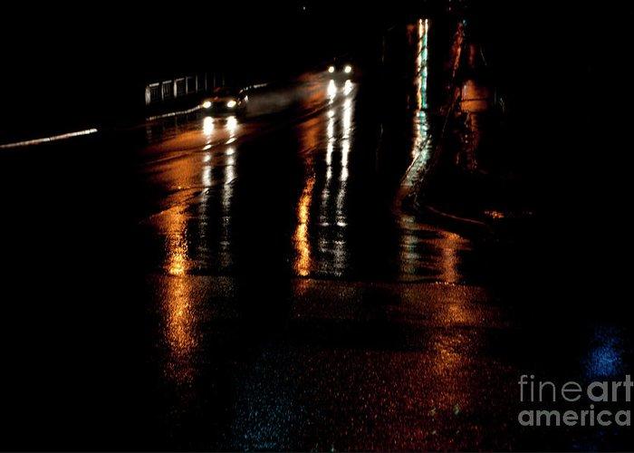 Oshawa Greeting Card featuring the photograph Long Lights At Night by Gary Chapple