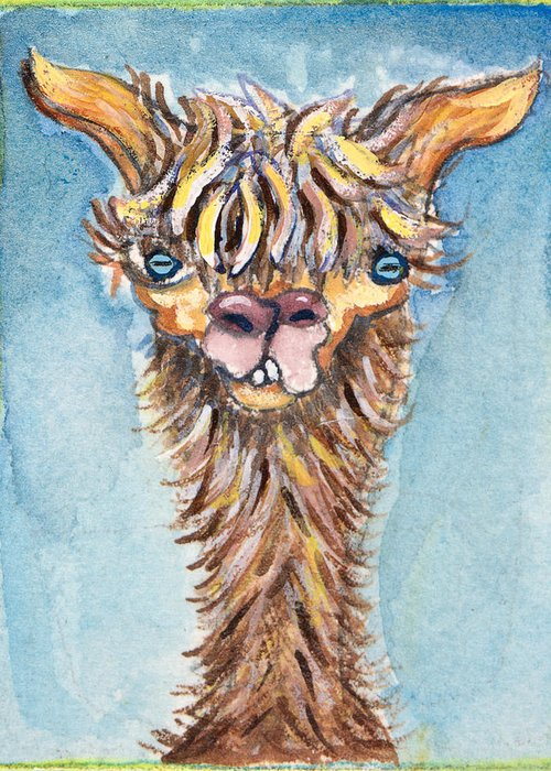 Animals Greeting Card featuring the painting Long Neck Alpaca by Michelle Spiziri