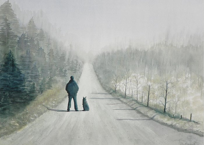 Winter Greeting Card featuring the painting Long Road Home by Ally Benbrook