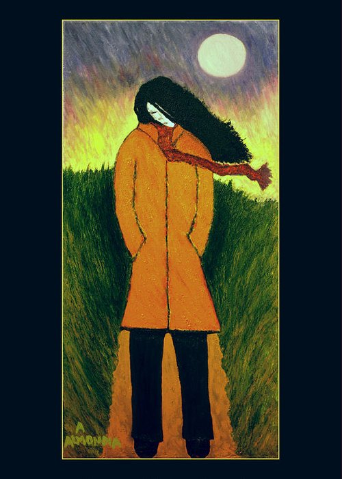 Figurative Greeting Card featuring the painting Long Winter Coming by Albert Almondia