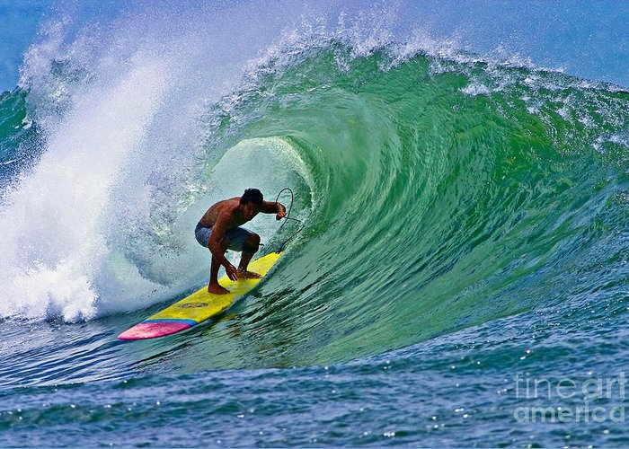 Bowls Greeting Card featuring the photograph Longboarder In The Tube by Paul Topp