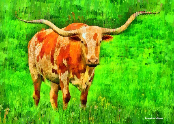 Long-horn Greeting Card featuring the painting Longhorn 2 - Pa by Leonardo Digenio