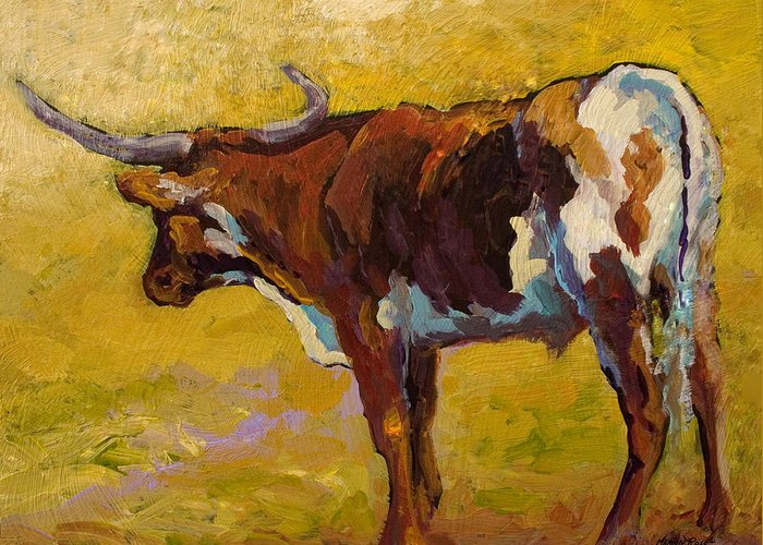 Longhorn Greeting Card featuring the painting Longhorn Study by Marion Rose