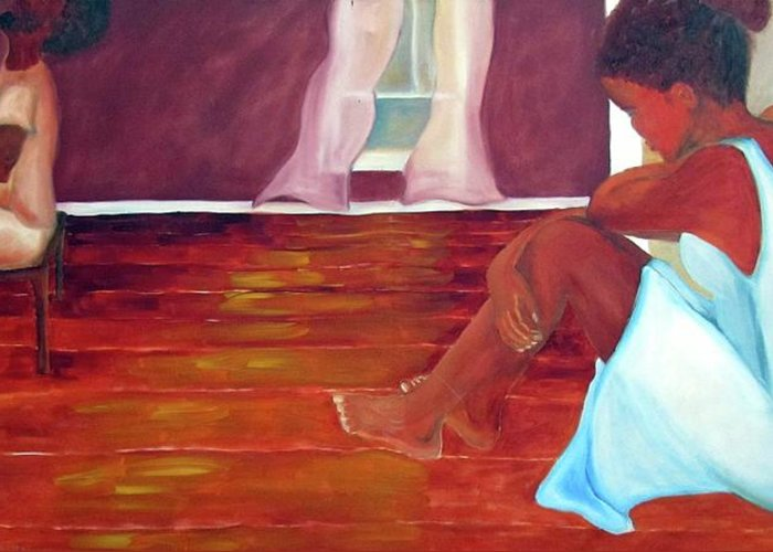 Piano Greeting Card featuring the painting Longing by Alima Newton