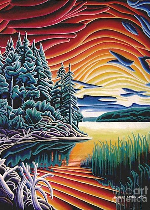 Longlac Greeting Card featuring the painting Longlac Sunset by Robert Davies