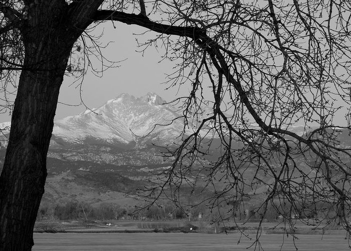 Longs Peak Greeting Card featuring the photograph Longs Peak And Mt. Meeker The Twin Peaks Black And White Photo I by James BO Insogna