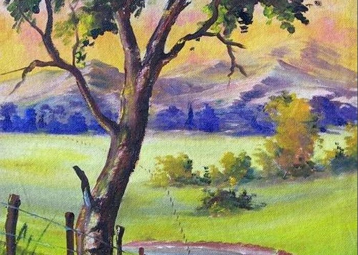 Greeting Card featuring the painting Look To The Horizon by Leomariano artist BRASIL