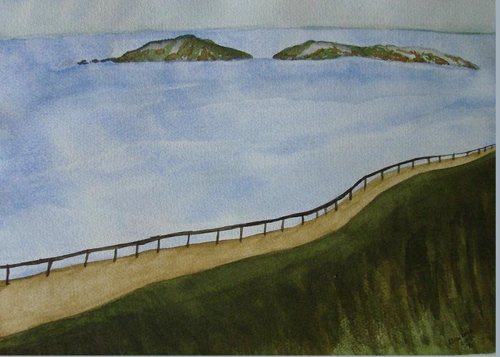 Landscape Greeting Card featuring the painting Look To The Islands by Liz Vernand