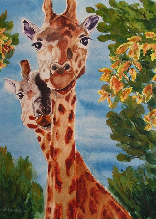 Giraffes Greeting Card featuring the painting Lookin Back by Karen Ilari