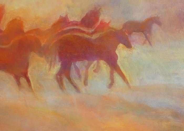Horse Greeting Card featuring the painting Lookin To Race I by Kip Decker