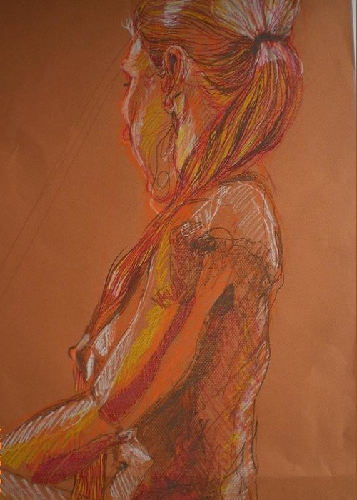 Setaed Female Figure Greeting Card featuring the painting Looking Away by Aleksandra Buha