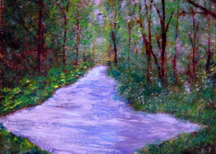 Landscapes Greeting Card featuring the painting Looking Down The Creek by Marie Katra