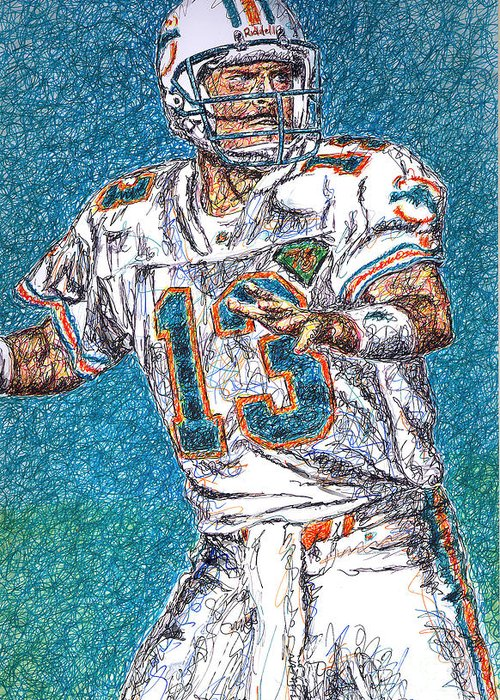 Dan Marino Greeting Card featuring the drawing Looking Downfield by Maria Arango