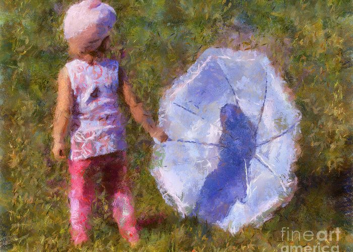 Umbrella Greeting Card featuring the painting Looking For A Rainbow by Chris Colter