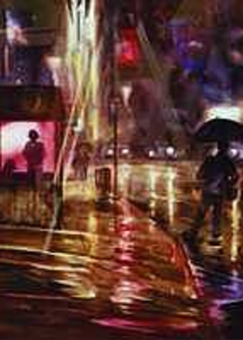 Night Greeting Card featuring the painting Looking For A Taxi by Ed Slack