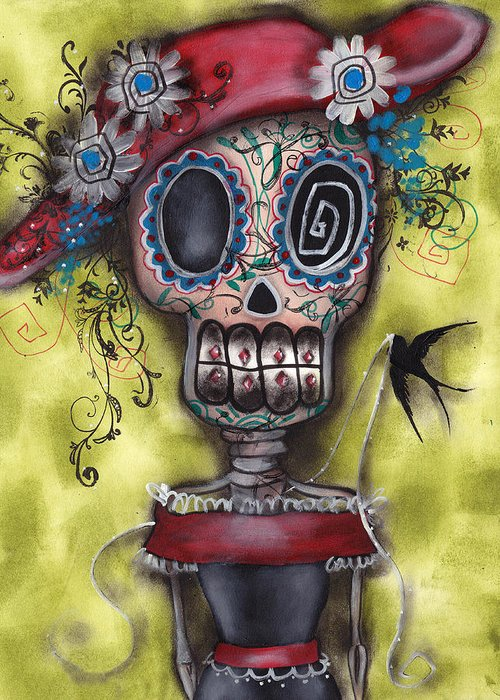 Day Of The Dead Paintings Greeting Card featuring the painting Looking For Love by Abril Andrade Griffith
