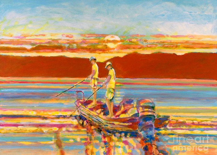 Fishing Greeting Card featuring the painting Looking For The Big One by Kip Decker