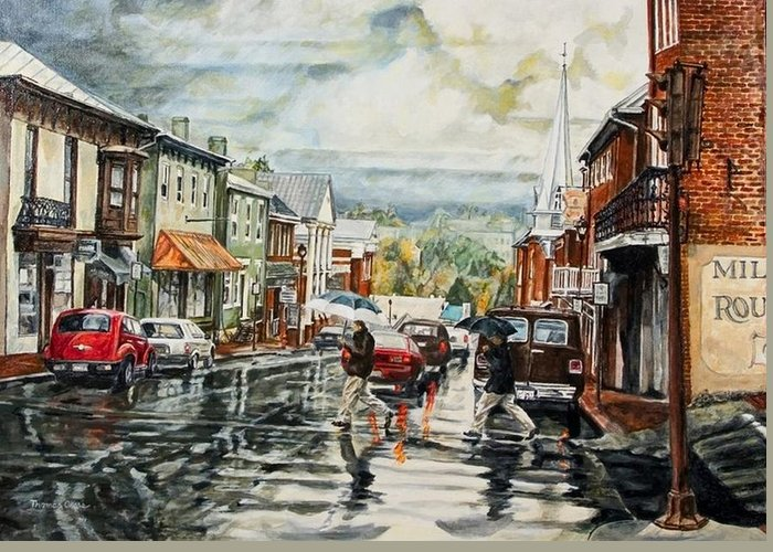 Rural Town Greeting Card featuring the painting Looking North by Thomas Akers