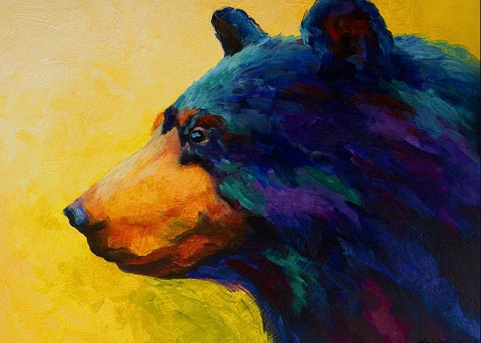 Bear Greeting Card featuring the painting Looking On II - Black Bear by Marion Rose