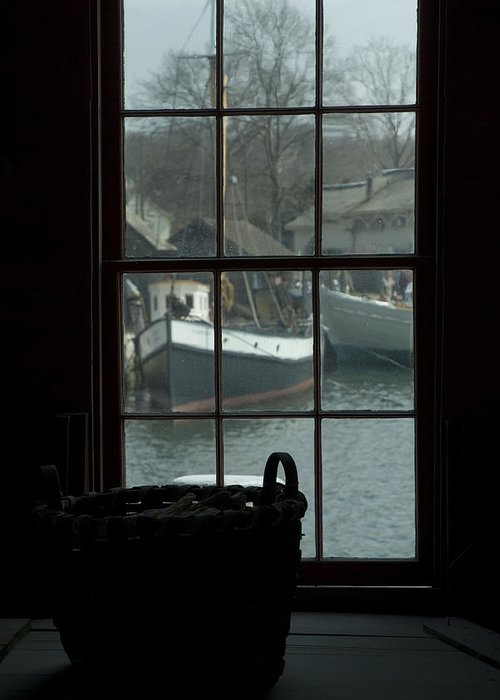 Mystic Greeting Card featuring the photograph Looking Out Through A Window At Wooden by Todd Gipstein