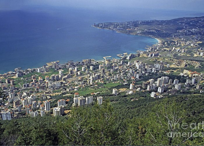 Beirut Greeting Card featuring the photograph Looking Over Jounieh Bay From Harissa by Sami Sarkis