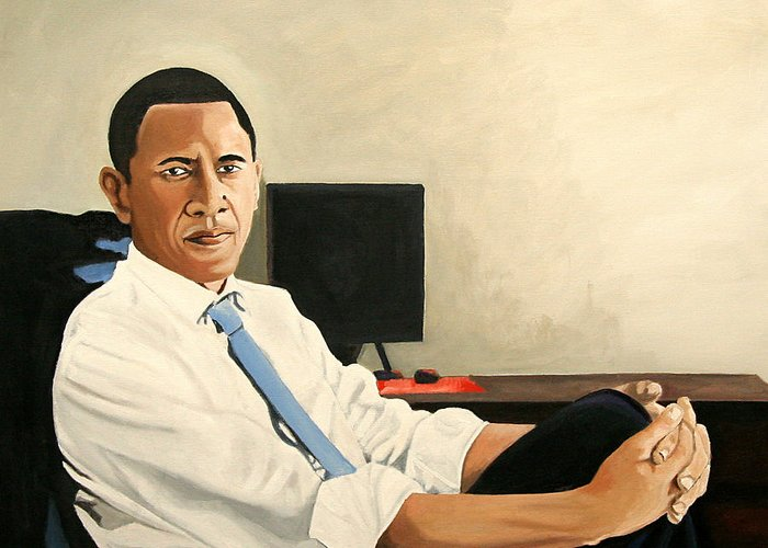 President Elect Obama Greeting Card featuring the painting Looking Presidential by Patrick Hunt