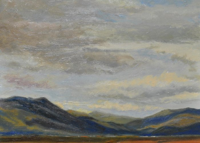 Landscape Greeting Card featuring the painting Looking Toward Taos by Phyllis Tarlow
