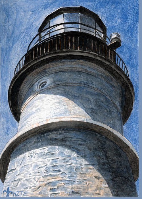 Lighthouse Greeting Card featuring the painting Looking Up Portland Head Light by Dominic White
